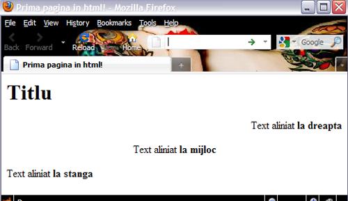 Atributuri html - aliniere text, tutorial html pentru incepatori