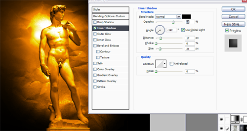 Umbra pe statuia David in Photoshop!