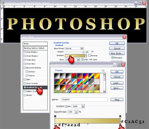 Efect text auriu in Photoshop